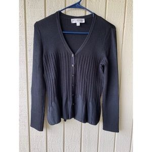 ST.JOHN Collection black ribbed Cardigan size M